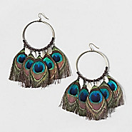 Peacock Feather Charmed Hoops
